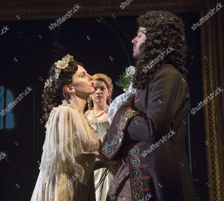 Ophelia Lovibond as Elizabeth Barry, Alice Bailey Johnson as Elizabeth Malet, Dominic Cooper as The Earl of Rochester,