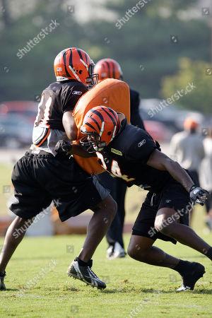 Kyries Hebert, Chinedum Ndukwe Cincinnati Bengals defensive back Kyries Hebert, right, and Chinedum Ndukwe during practice at their NFL football training camp, in Georgetown, Ky