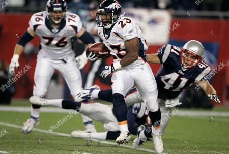 Andre Hall Denver Broncos running back Andre Hall (23) runs with the ball against the New England Patriots in an NFL football game, in Foxborough, Mass