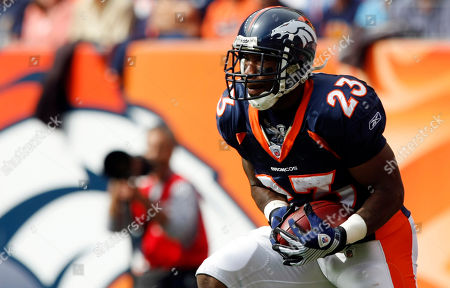 Andre Hall Denver Broncos running back Andre Hall fields a kick against the Tampa Bay Buccaneers in the first quarter of an NFL football game in Denver on
