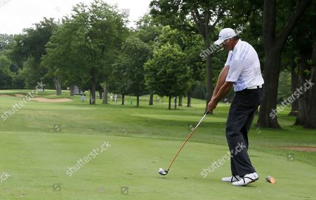 Toni Kukoc Toni Kukoc hits a tee shot on the second hole during the first round of the Encompass Championship golf tournament in Glenview, Ill