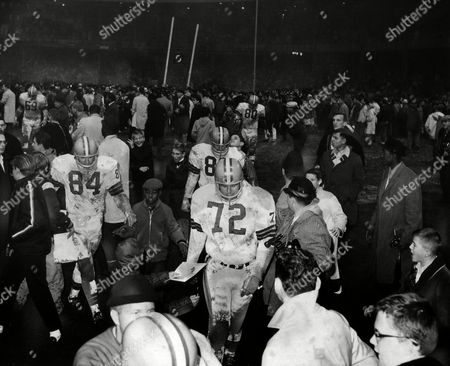 Stock Photo of New York football fans take over the Yankee Stadium gridiron after the Cleveland Browns, who controlled it for most of the afternoon, beat the New York Giants, 52-20, to win the Eastern Division championship of the NFL in New York, . Leaving the field in foreground are Cleveland defensive end Paul Wiggin (84) and defensive tackle Mike Brundra. Other identifiable Browns are defensive tackle Jim Kanicki (69) and defensive end Bill Glass (80). Fans in background tackle goal post