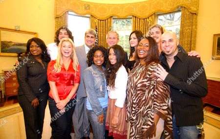 Stock Picture of President George W Bush (C) with participants, Taylor Hicks, Katharine McPhee, Elliott Yamin, Chris Daughtry McLeansville, Paris Bennett, Kellie Pickler, Ace Young, Bucky Covington, Mandisa Hundley and Lisa Tucker