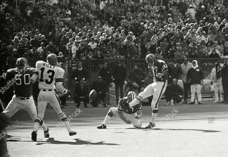 Atlanta Falcons Bill Bell, with quarterback Dick Shiner holding, sent the ball winging from his own 23-yard line for a field goal in first period of a NFL game with Cincinnati on in Cincinnati. This gave the Falcons a 3-0 lead, but the Bengals tied it with a field goal later in the quarter. With one minute and 17 second remaining in the game Shiner threw a 46-yard touchdown pass to Art Malone to give Falcons a 9-6 win