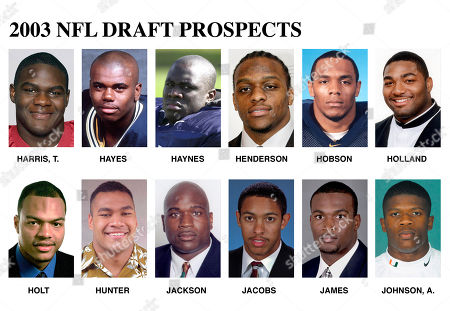FOR USE ANYTIME WITH 2003 NFL DRAFT STORIES ** FILE ** Top draft prospects for the 2003 NFL draft are shown in these undated photos. They are: Tommie Harris, Oklahoma, DL; Gerald Hayes, Pittsburgh, LB; Michael Haynes, Penn St., DE; E.J. Henderson, Maryland, LB; Victor Hobson, Michigan, LB; Montrae Holland, Florida St., G; Terrence Holt, N.C. State, S; Wayne Hunter, Hawaii, T; Alonzo Jackson, Florida St., DE; Taylor Jacobs, Florida, WR; Bradie James, Louisiana St., LB; Andre Johnson, Miami, WR