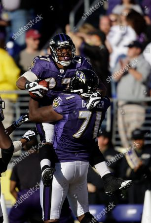 Ray Rice, Jared Gaither Baltimore Ravens running back Ray Rice (27) celebrates with teammate Jared Gaither during the second half of an NFL football game against the Oakland Raiders, in Baltimore. The Ravens won 29-10