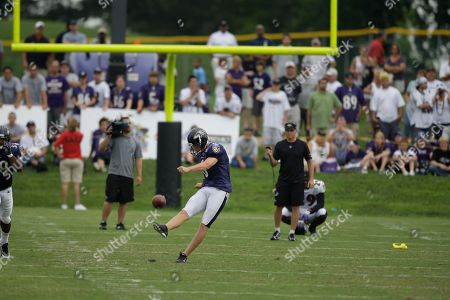 Steve Hauschka Baltimore Ravens kicker Steve Hauschka kicks the ball during the NFL football team's training camp, in Westminster, Md