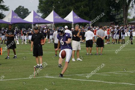 Steve Hauschka Baltimore Ravens kicker Steve Hauschka kicks during the NFL football team's training camp, in Westminster, Md