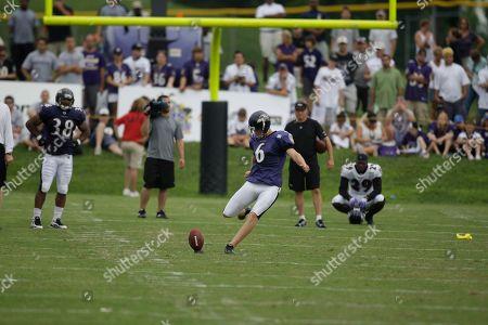 Stock Picture of Steve Hauschka Baltimore Ravens kicker Steve Hauschka kicks during the NFL football team's training camp, in Westminster, Md