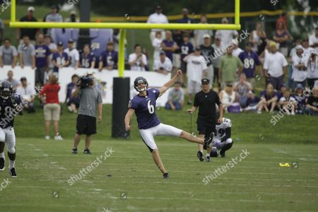 Stock Image of Steve Hauschka Baltimore Ravens kicker Steve Hauschka follows through on a kick off during the NFL football team's training camp, in Westminster, Md