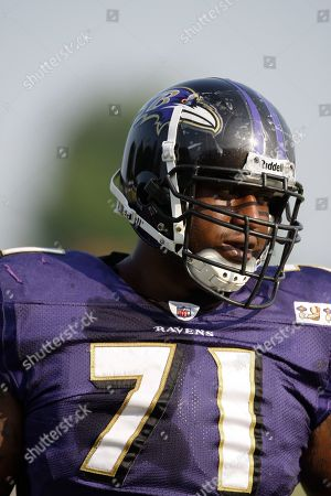 Jared Gaither Baltimore Ravens Jared Gaither (71) during the NFL football team's training camp, in Westminster, Md