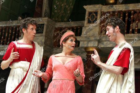 Comedy of Errors - Andrew Havill ( Antipholus of Syracuse ) Sarah Woodward ( Adriana ) and Simon Wilson ( Antipholus of Ephesus )