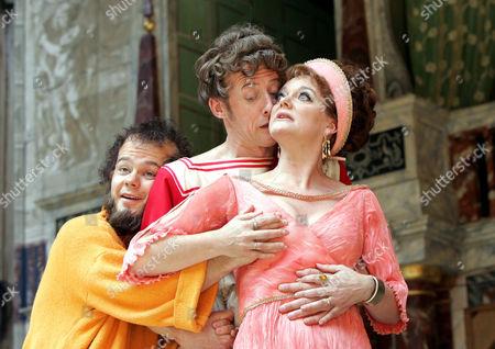 Comedy of Errors - Sam Alexander ( Dromio ) Andrew Havill ( Antipholus of Syracuse ) and Sarah Woodward ( Adriana )
