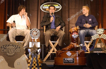 BRACK LUYENDYK HORNISH Last year's Indy Racing League champion, Sam Hornish Jr., center, responds to questions as Infiniti Pro Series driver Arie Luyendyk Jr., left, and IRL driver Kenny Brack, right, listen during a news conference at Texas Motor Speedway, in Fort Worth, Texas