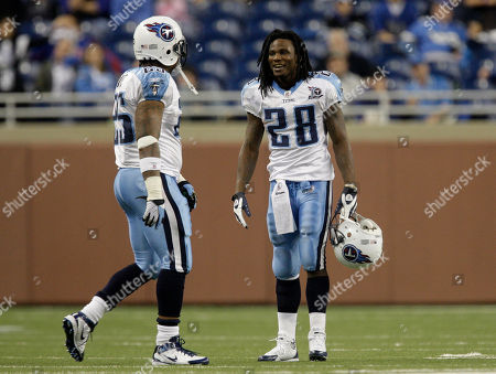 LenDale White, Chris Johnson Tennessee Titans running backs LenDale White and Chris Johnson (28) talks against the Detroit Lions in the fourth quarter of an NFL football game in Detroit, . Tennessee won 47-10
