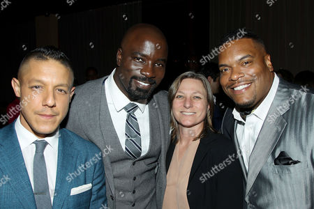 Stock Photo of Theo Rossi, Mike Colter, Cindy Holland (Netflix), Sean Ringgold