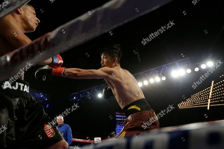 Jozsef Ajtai, Zou Shiming Zou Shiming, of China, right, punches Jozef Ajtai, of Hungary, during the first round of a WBO flyweight title boxing match, in New York. Zou Shiming, of China, won the fight