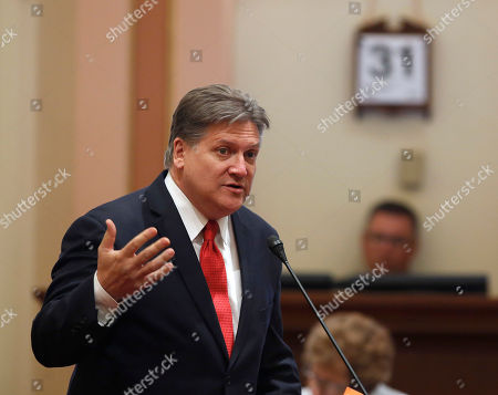 "Robert Hertzberg State Sen. Robert Hertzberg, D-Van Nuys, called for passage of his measure to outlaw ""ransomware"" computer hacking attacks, during the Senate session, in Sacramento, Calif. The bill, SB1137, that will allow prosecutors to charge perpetrators with extortion, was approved by the Senate on a 38-0 vote and sent to the Assembly"