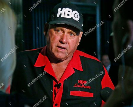 """Dennis Hof Dennis Hof, owner of the Moonlite BunnyRanch, a legal brothel near Carson City, Nevada, is pictured during an interview during a break in the trial of Denny Edward Phillips and Russell Lee Hogshooter, in Oklahoma City, . Phillips and Hogshooter are charged with six counts of first-degree murder and one count of conspiracy in the deaths of Brooke Phillips, Milagros Barrera, Jennifer Lynn Ermey and Casey Mark Barrientos. The other two murder charges are because Brooke Phillips and Barrerra were pregnant. Brooke Phillips, no relation to Denny Edward Phillips, was a prostitute featured on the HBO series """"Cathouse"""