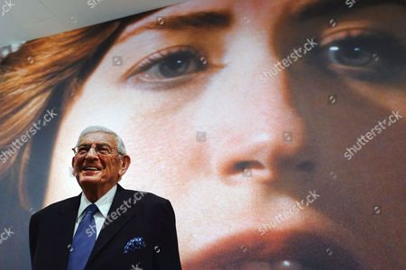 """ELI BROAD Philanthropist Eli Broad speaks during a press preview for an exhibition of Cindy Sherman at The Broad Museum in Los Angeles on . The Broad's first special exhibition, """"Cindy Sherman: Imitation of Life,"""" opens June 11, and will feature more than 120 works by the artist"""