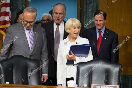 Helen Mirren, Charles Schumer, Ronald Lauder, Richard Blumenthal Actress Dame Helen Mirren arrives on Capitol Hill in Washington, to testify before a Senate Judiciary subcommittee hearing on the Holocaust Expropriated Art Recovery Act. From left are, Sen. Charles Schumer, D-N.Y., former Ambassador to Austria Ronald Lauder, Mirren, and Sen. Richard Blumenthal, D-Conn
