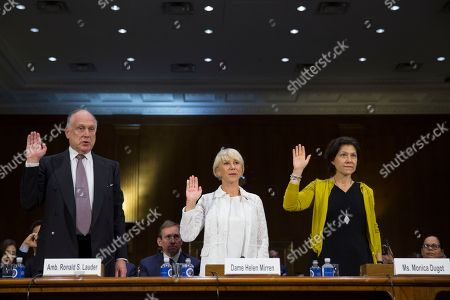 Ronald Lauder, Helen Mirren, Monica Dugot From left, former Ambassador to Austria Ronald Lauder, actress Dame Helen Mirren, and Monica Dugot, international director of restitution for the auction house Christie's, are sworn in on Capitol Hill in Washington, during a Senate Judiciary subcommittee hearing on the Holocaust Expropriated Art Recovery Act