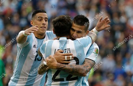 Victor Cuesta, Ezequiel Lavezzi, Ramiro Funes Mori Argentina's Victor Cuesta, right, is congratulated by Ezequiel Lavezzi, center, and Ramiro Funes Mori after scoring his side's third goal against Bolivia during a Copa America Centenario Group D soccer match, at CenturyLink Field in Seattle