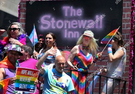 Barbara Poma Participants ride on the Stonewall Inn's float along Fifth Avenue during the New York City Pride Parade, in New York