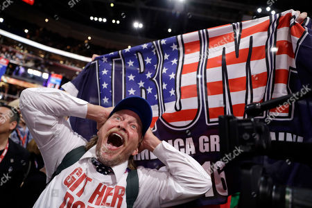 "Stock Photo of Jake Byrd, Bob Hayssen, Tony Barbieri Tony Barbieri reacts as the character ""Jake Byrd"" from the ""Jimmy Kimmel Live!"" show as New York delegate Bob Hayssen holds up a Trump flag during the second day session of the Republican National Convention in Cleveland"