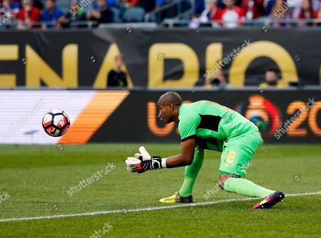 Costa Rica's Patrick Pemberton (18) makes a save during a Copa America Centenario group A soccer match against the United States at Soldier Field in Chicago
