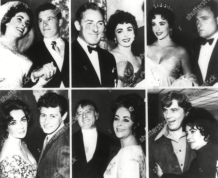 Stock Image of Actress Elizabeth Taylor, who turns 50, is shown through the years with her six husbands. Top row, from left: Conrad Hilton Jr. in 1950; actor Michael Wilding in 1951; producer Mike Todd in 1957; Bottom row, from left: singer Eddie Fisher in 1959; actor Richard Burton in 1972 and John Warner in 1976