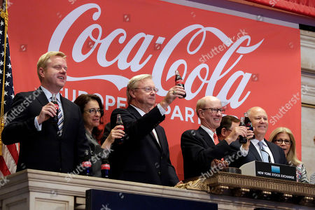 John Brock, Jeffrey Sprecher Coca-Cola European Partners CEO John Brock, second from right, and Jeffrey Sprecher, right, Chairman and CEO of Intercontinental Exchange and Chairman of the New York Stock Exchange, toast as Brock rings the New York Stock Exchange opening bell