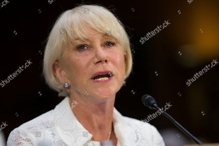 """Helen Mirren Actress Dame Helen Mirren testifies on Capitol Hill in Washington, during a Senate Judiciary subcommittee hearing on the Holocaust Expropriated Art Recovery Act. Mirren said Wednesday, June 22, 2016, that she was a """"believer"""" in Israel and rejected efforts to boycott it. Mirren is in Israel to host the Genesis Prize, an award known as """"the Jewish Nobel,"""" which is being awarded to Israeli-American violinist Itzhak Perlman for his accomplishments as a musician, teacher and advocate for the disabled"""