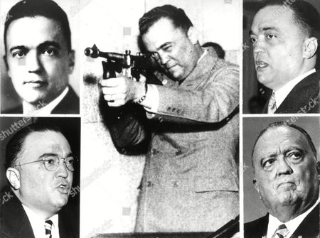 J. Edgar Hoover, who died 1972 in Washington at age 77, is shown through the years in his post as director of the Federal Bureau of Investigation. In CENTER photo Hoover demonstrates use of machine gun in 1935. UPPER LEFTis the newly named head of the FBI in 1924. UPPER RIGHT Hoover speaks to a National Crime Conference in 1934. LOWER LEFT he appears before House Unamerican Activities Committee in 1947. BOTTOM RIGHT he participates in the Justice Department's 100th anniversary in 1970