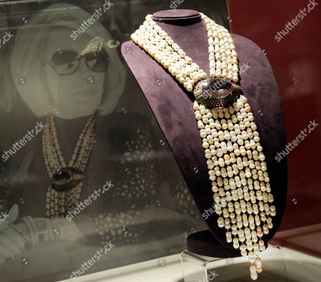 A beaded necklace owned by the late comedian Joan Rivers is displayed at Christie's, in New York