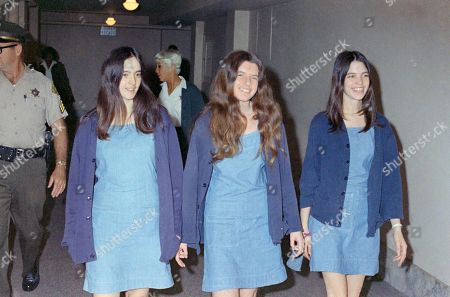 """Charles Manson followers, from left: Susan Atkins, Patricia Krenwinkel and Leslie Van Houten, walk to court to appear for their roles in the 1969 cult killings of seven people, including pregnant actress Sharon Tate, in Los Angeles, Calif. California Gov. Jerry Brown is denying parole for Van Houten, the youngest follower of murderous cult leader Charles Manson. The Democratic governor said, Van Houten's """"inability to explain her willing participation in such horrific violence"""" leads him to believe she remains an unreasonable risk to society"""