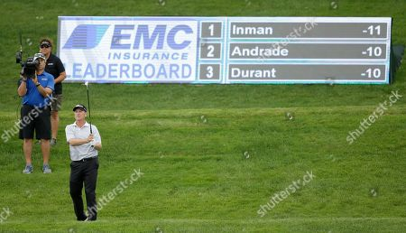 Stock Picture of John Inman John Inman watches his third shot on the 17th fairway during the second round of the PGA Tour Champions Principal Charity Classic golf tournament, in Des Moines, Iowa
