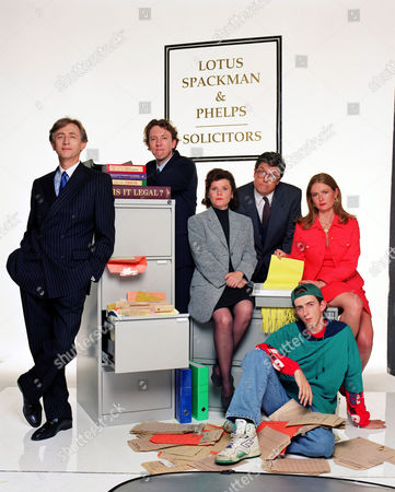 Jeremy Clyde [L], Imelda Staunton [Sitting], Richard Lumsden, Patrick Barlow and the rest of the cast of 'Is It Legal' - 1995