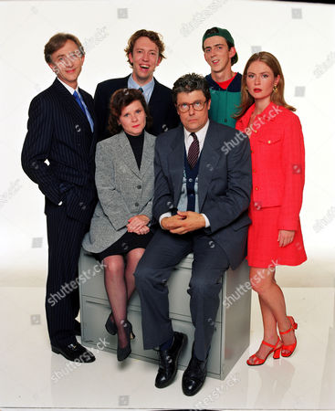 Jeremy Clyde [L], Richard Lumsden, Imelda Staunton and Patrick Barlow [Sitting] with the rest of the cast from 'Is It Legal' - 1995