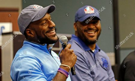 Jordan Babineaux, Walter Jones Former Seattle Seahawks' Jordan Babineaux, left, and Walter Jones address rookies during a panel discussion at the football team's training camp, in Renton, Wash. The team is holding a rookie symposium for the new players to give them information about the NFL