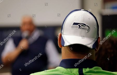 Gary Wright A Seattle Seahawks rookie wears a team cap backward as he listens to former team executive Gary Wright speak at the football team's training camp, in Renton, Wash. The team is holding a rookie symposium for the new players to give them information about the NFL