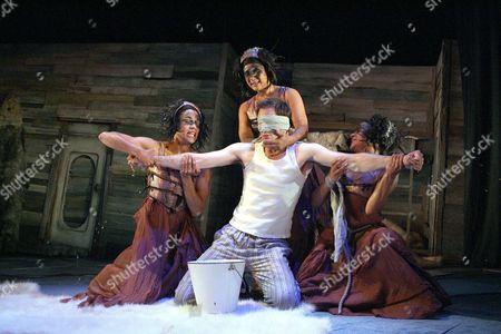 The Tempest - Nick Court ( Ferdinand ), Allyson Brown, Golda Rosheuvel and Emma Jay Thomas