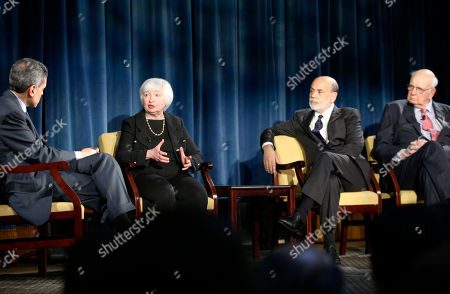 Fareed Zakaria, Janet Yellen, Ben Bernanke, Paul Volcker Moderator Fareed Zakaria listens as Federal Reserve chair Janet Yellen speaks while former Federal Reserve chairs Ben Bernanke and Paul Volcker listen as they appear together in a conversation, in New York. Former Federal Reserve Chairman Allan Greenspan appeared via video conference. The conversation was geared toward millennials and focused on how the Chairs' philosophies and personal beliefs impact decision making with international implications