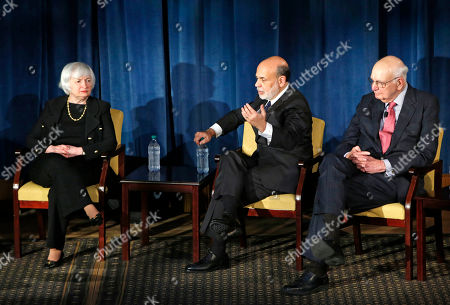 Janet Yellen, Ben Bernanke, Paul Volcker Federal Reserve chair Janet Yellen, left, listens as former Federal Reserve chair Ben Bernanke, center, speaks and former Fed Chair Paul Volcker listens as the trio appeared together, in New York. Former Fed Chair Alan Greenspan spoke via video conference. The forum was geared toward millennials and focused on how the Chairs' philosophies and personal beliefs impact decision-making with international implications