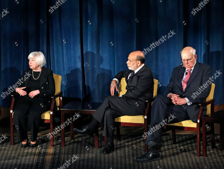 Janet Yellen, Ben Bernanke, Paul Volcker Federal Reserve chair Janet Yellen speaks while former Federal Reserve chairs Ben Bernanke, center, and Paul Volcker, far right, listen as the trio appeared together for the first time, in New York. Former Fed Chair Alan Greenspan joined the conversation via video conference. The forum addressed millennials and was designed to illuminate how the Chairs' philosophies and personal beliefs impact decision-making with international implications