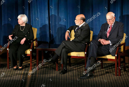 Janet Yellen, Ben Bernanke, Paul Volcker From left, Federal Reserve chair Janet Yellen speaks as former Federal Reserve chairs Ben Bernanke, and Paul Volcker appear together for the first time, in New York. Former Fed Chair Alan Greenspan appeared via video conference. The forum was geared toward millennials and focused on how the Chairs' philosophies and personal beliefs impact decision-making with international implications