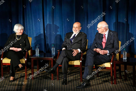 Janet Yellen, Ben Bernanke, Paul Volcker Federal Reserve chair Janet Yellen, left, and former Federal Reserve chairs Ben Bernanke, center, and Paul Volcker, right, react as they listen to former Fed Chair Alan Greenspan appearing via video conference, during a panel discussion, in New York. The conversation addressed millennials and was designed to illuminate how the Chairs' philosophies and personal beliefs impact decision-making with international implications