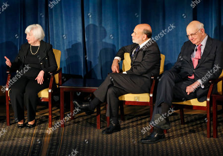 Stock Picture of Janet Yellen, Ben Bernanke, Paul Volcker Federal Reserve chair Janet Yellen left, speaks as former Federal Reserve chairs Ben Bernanke and Paul Volcker listen during a forum, in New York. Former Fed Chair Aslan Greenspan joined by video conference. The panel addressed millennials and focused on how the Chairs' philosophies and personal beliefs impact decision-making with international implications
