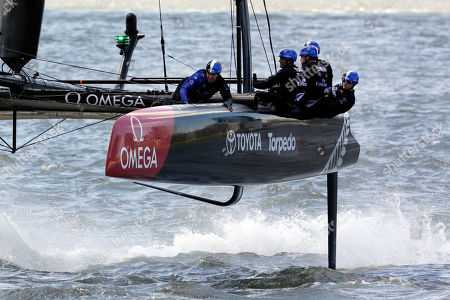 Oracle Team USA Emirates Team New Zealand SoftBank Team Japan Team France Artemis Racing of Sweden Ben Ainslie Racing of Great Britain Emirates Team New Zealand races during an America's Cup sailing event, on the Hudson River in New York