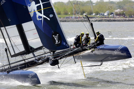Oracle Team USA Emirates Team New Zealand SoftBank Team Japan Team France Artemis Racing of Sweden Ben Ainslie Racing of Great Britain Artemis Racing of Sweden races during an America's Cup sailing event, on the Hudson River in New York